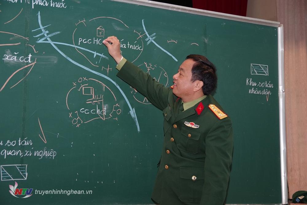 Đại tá Nguyễn Ngọc Hà, Chỉ huy trưởng Bộ CHQS tỉnh thống nhất một số nội dung thành phần thế trận Quân sự trong khu vực phòng thủ.