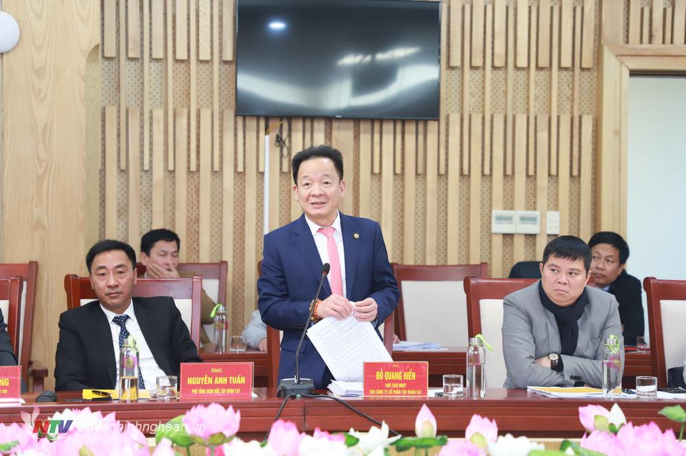 Ông Đỗ Quang Hiển - Chủ tịch HĐQT kiêm Tổng Giám đốc Tập đoàn T&T phát biểu tại cuộc làm việc.