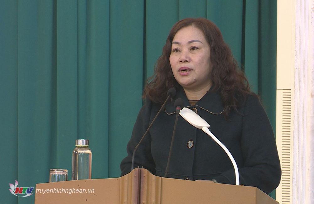 Trưởng Ban Tuyên giáo Tỉnh ủy Nguyễn Thị Thu Hường phát biểu chỉ đạo hội nghị.