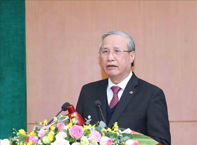 Đồng chí Trần Quốc Vượng, Ủy viên Bộ Chính trị, Thường trực Ban Bí thư phát biểu chỉ đạo hội nghị. Ảnh: TTXVN.