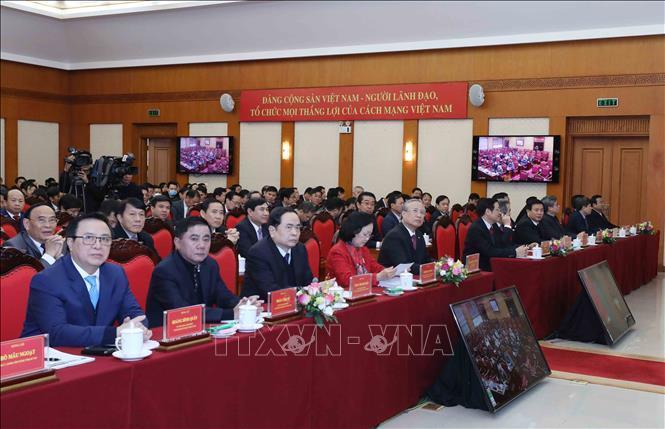 Các đồng chí lãnh đạo Đảng và đại biểu dự hội nghị tại điểm cầu Trung ương.