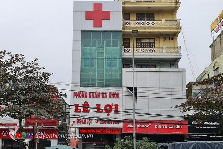 Phòng khám đa khoa Lê Lợi tại số 99 đường Lê Lợi, TP Vinh bị tước giấy phép 2 tháng.