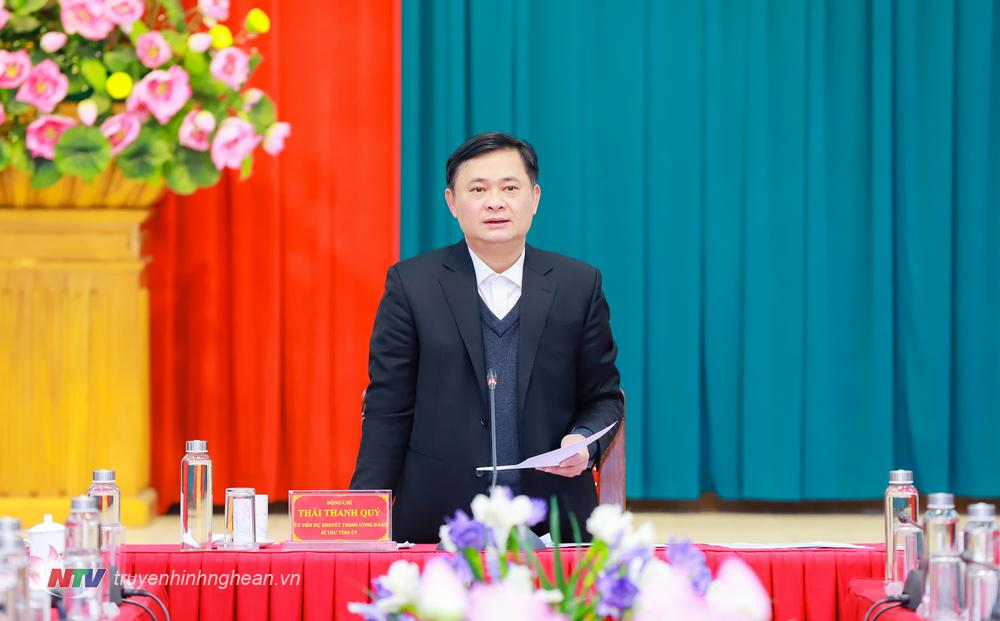 Bí thư Tỉnh ủy Thái Thanh Quý phát biểu tại cuộc họp.
