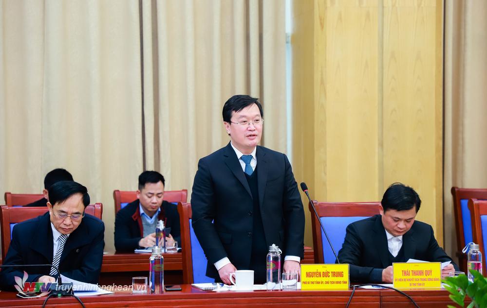 Chủ tịch UBND tỉnh Nguyễn Đức Trung phát biểu tại buổi làm việc.