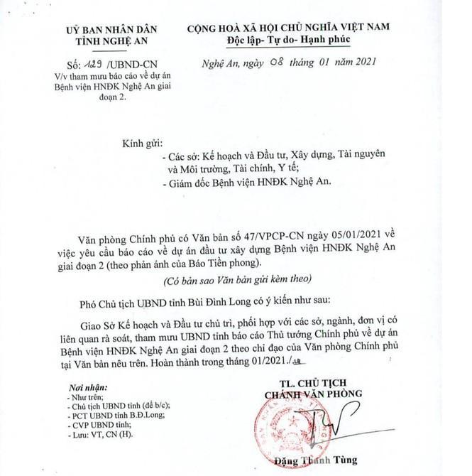 Công văn của UBND tỉnh Nghệ An.