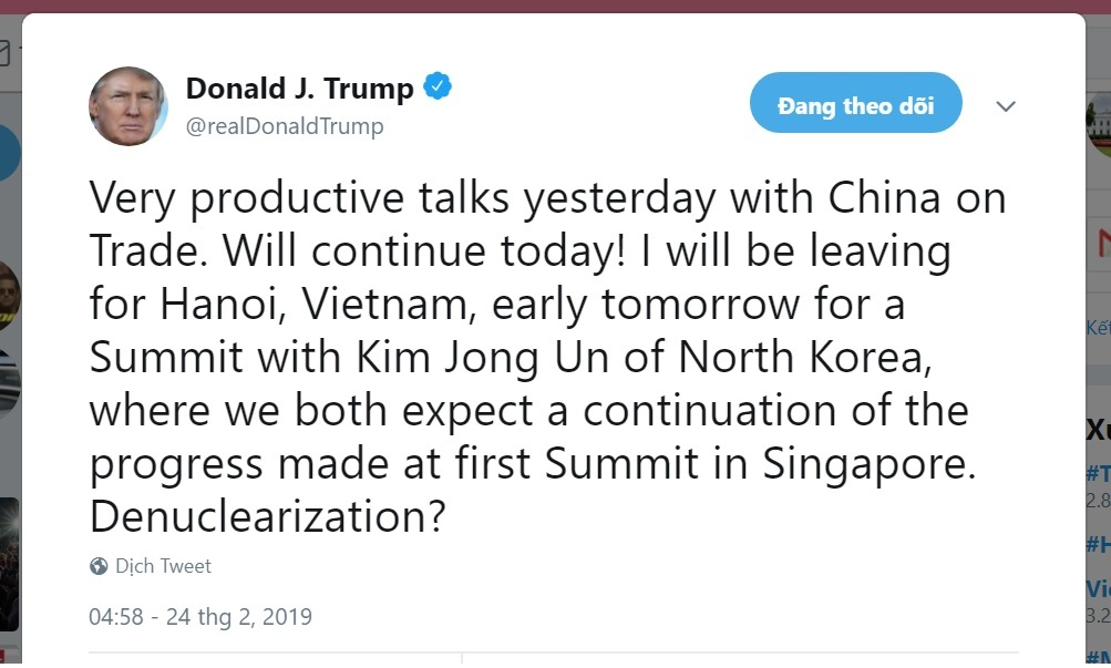Dòng Twitter Tổng thống Mỹ thông báo