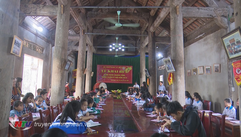 Toàn cảnh lễ khai bút đầu xuân của xã Quỳnh Đôi, huyện Quỳnh Lưu