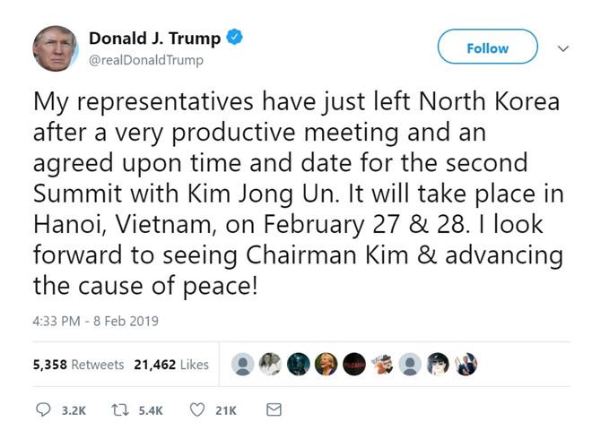 Dòng tweet của ông Trump.