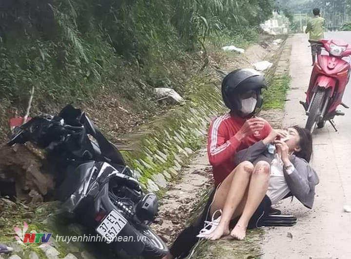 Hiện trường nạn nhân bị đối tượng cướp giật ngã ra đường