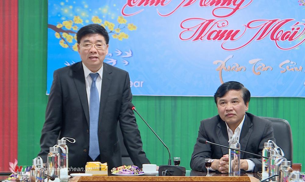 Phó Bí thư Thường trực Tỉnh ủy Nguyễn Văn Thông phát biểu chúc Tết.
