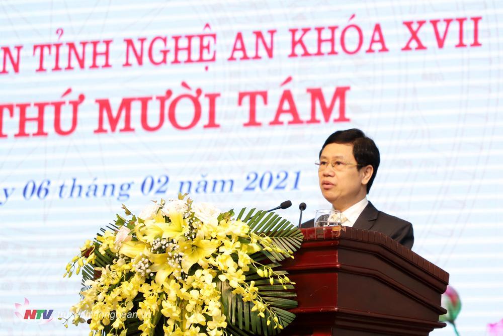 Đồng chí Nguyễn Xuân Sơn - Chủ tịch HĐND tỉnh phát biểu khai mạc kỳ họp.