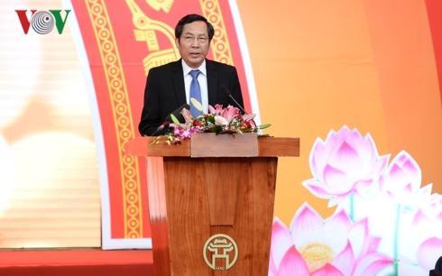 hủ tịch Hội Nhà báo Việt Nam, Phó Ban Tuyên giáo Trung ương, Tổng Biên tập báo Nhân dân Thuận Hữu phát biểu khai mạc Hội báo toàn quốc 2019.