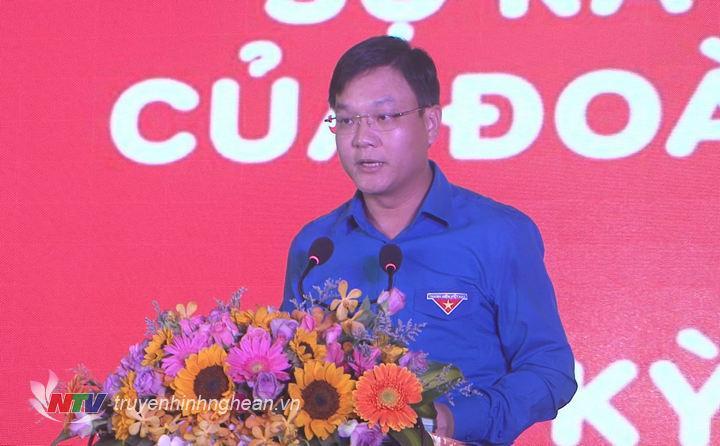 Bí thư Tỉnh đoàn Phạm Tuấn Vinh phát biểu tại lễ kỷ niệm.
