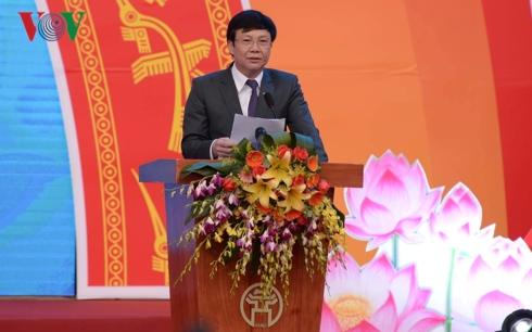 hà báo Hồ Quang Lợi, Phó Chủ tịch Thường trực Hội Nhà báo Việt Nam phát biểu tại Lễ Bế mạc Hội báo toàn quốc 2019.