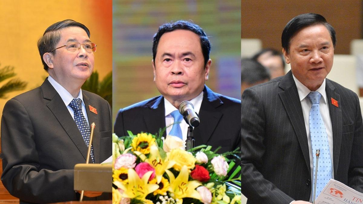 Các ông: Nguyễn Đức Hải, Trần Thanh Mẫn, Nguyễn Khắc Định (từ trái qua) được giới thiệu để bầu giữ chức Phó Chủ tịch Quốc hội khoá XIV.