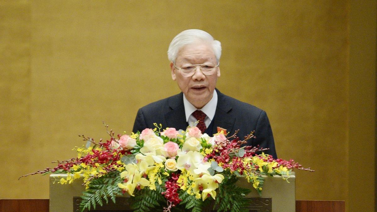 Tổng Bí thư, Chủ tịch nước Nguyễn Phú Trọng trình bày báo cáo sáng 24/3 (Ảnh: Quochoi.vn)