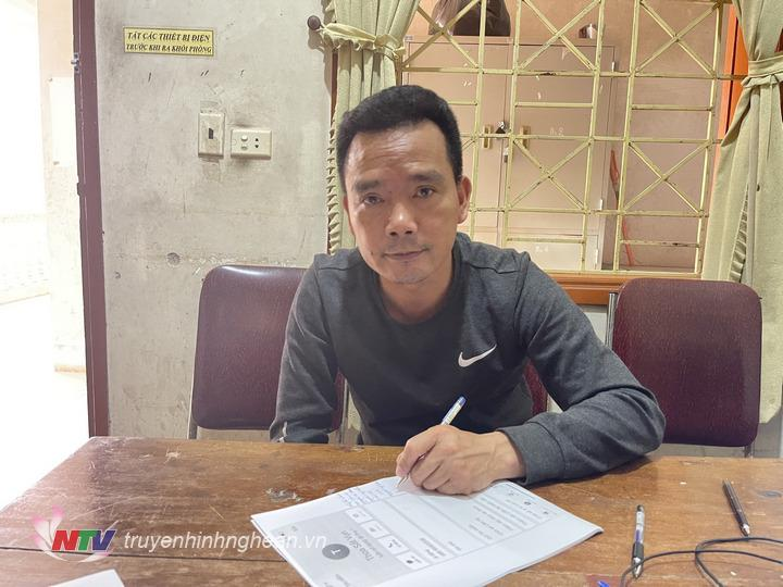 Đối tượng Nguyễn Sỹ Hào tại cơ quan điều tra.
