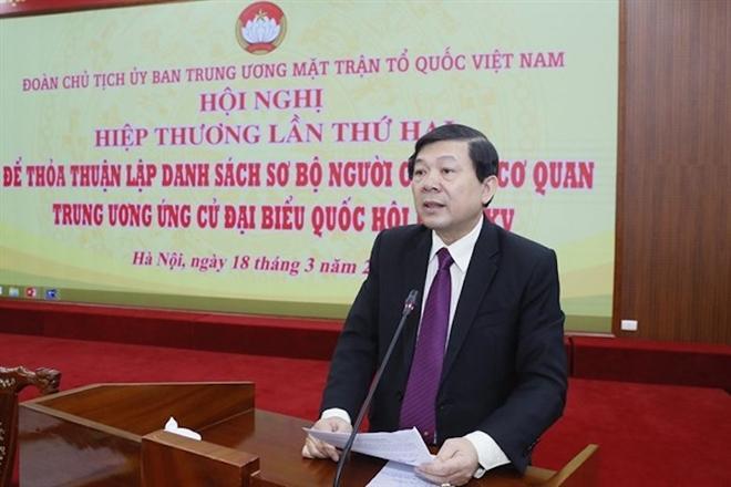 Phó Chủ tịch UBTƯ MTTQ Việt Nam Nguyễn Hữu Dũng phát biểu tại Hội nghị. (Ảnh: MTTQVN)