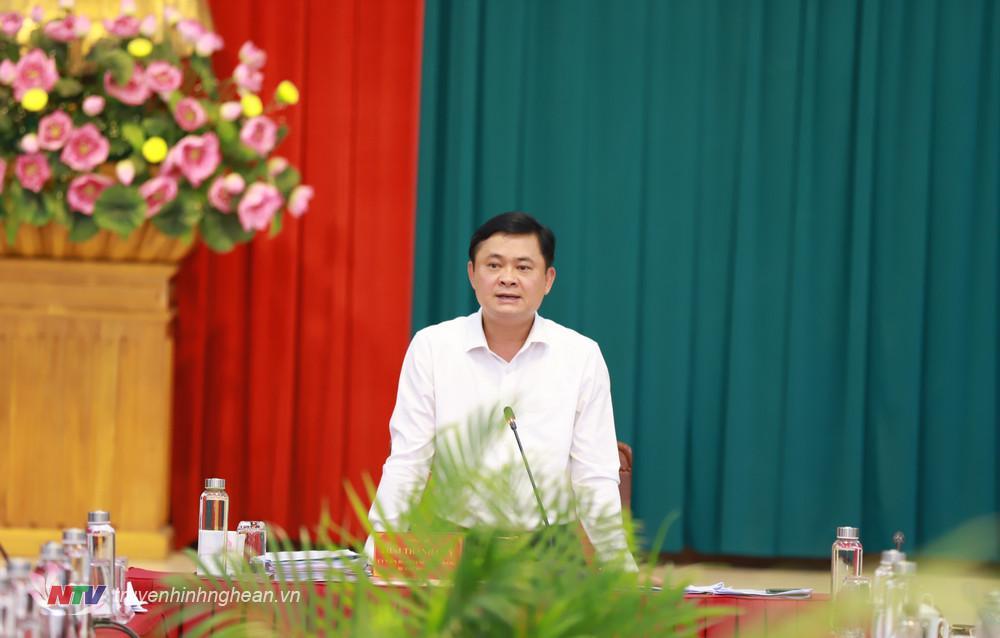 Bí thư Tỉnh uỷ Thái Thanh Quý phát biểu kết luận nội dung về thống nhất chủ trương ban hành cơ chế, chính sách đặc thù cho TP. Vinh và thị xã Cửa Lò.