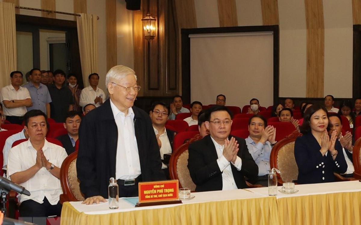 Tổng Bí thư, Chủ tịch nước Nguyễn Phú Trọng tại Hội nghị lấy ý kiến nhận xét và tín nhiệm cử tri nơi cư trú. (Ảnh: TTXVN)