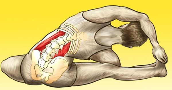 Ngồi trên thảm với chân phải mở rộng sang một bên, gập đầu gối trái và lòng bàn chân trái kéo gần phía trong đùi phải. Cúi người sang bên phải và nắm lấy chân phải bằng cả hai tay. Giữ trong 60 giây, sau đó đổi bên.