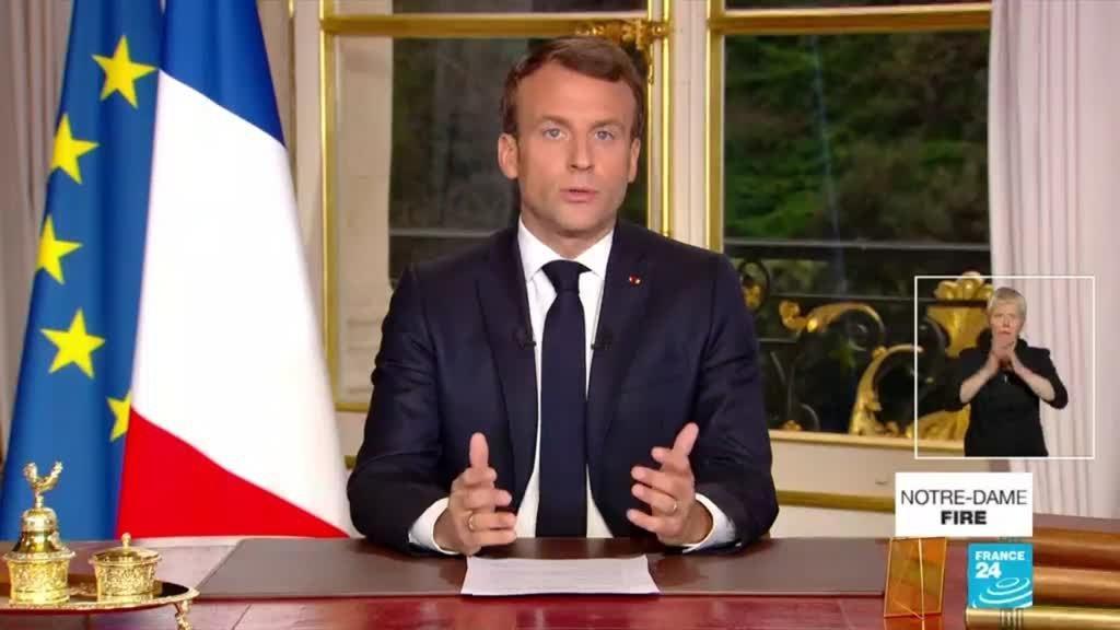 Tổng thống Pháp phát biểu trên truyền hình, cam kết sẽ phục dựng Nhà thờ Đức Bà Paris trong vòng 5 năm