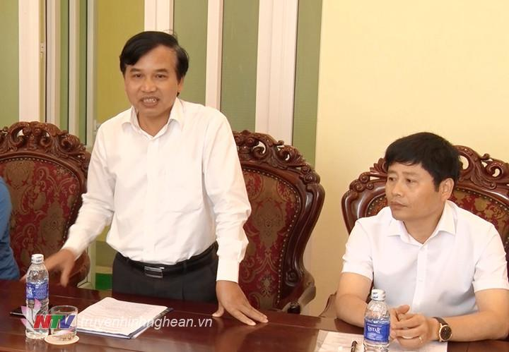 Đồng chí Nguyễn Như Khôi - Tỉnh ủy viên, Giám đốc Đài PT-TH Nghệ An phát biểu tại buổi làm việc.