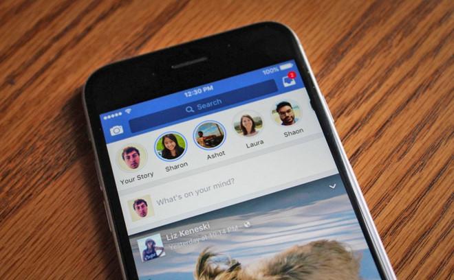 Giao diện hiện tại của Facebook, với phần Stories ở trên và News Feed ở dưới.