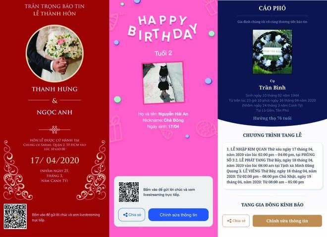 Các loại sự kiện online được tạo bởi Zalo Event.