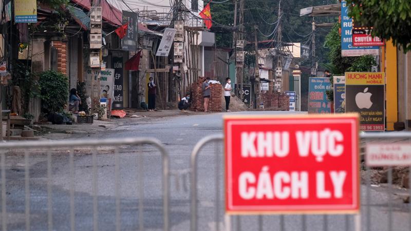 Tại khu vực cách ly ở thôn Hạ Lôi, xã Mê Linh, huyện Mê Linh