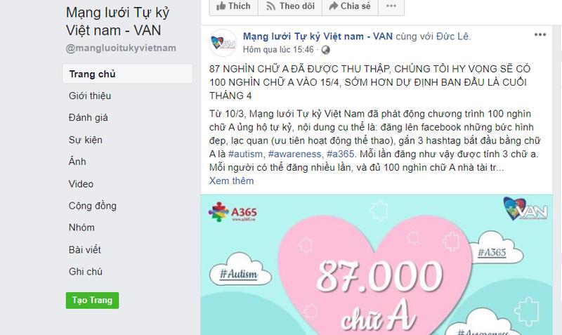 Thông tin kêu gọi từ Mạng lưới tự kỷ Việt Nam (Ảnh chụp màn hình chiều 14/4)