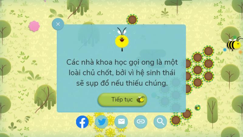 Qua mỗi mốc người chơi sẽ có thêm hiểu biết về loài ong. (Ảnh chụp màn hình)