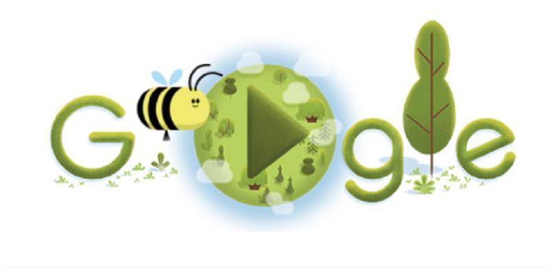 Google thay đổi doodle là một mini game để giáo dục kiến thức về loài ong. (Ảnh chụp màn hình)