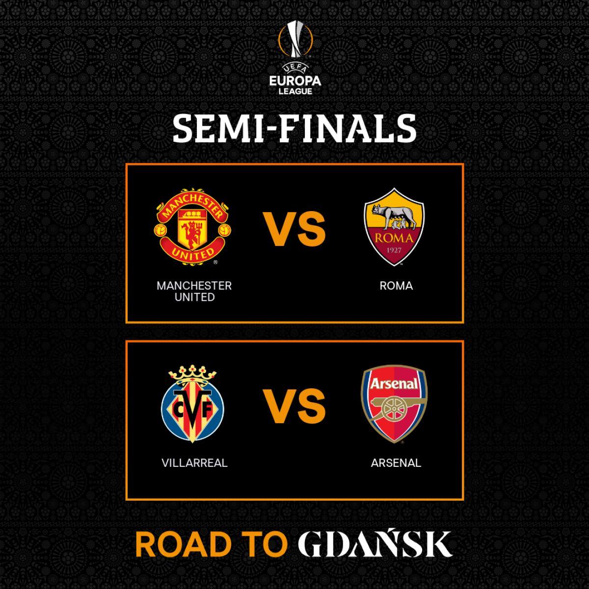 Các cặp đấu bán kết Europa League. (Ảnh: UEFA).