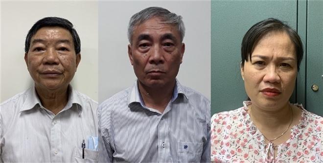 Bị can Nguyễn Quốc Anh, Nguyễn Ngọc Hiền và Trịnh Thị Thuận.