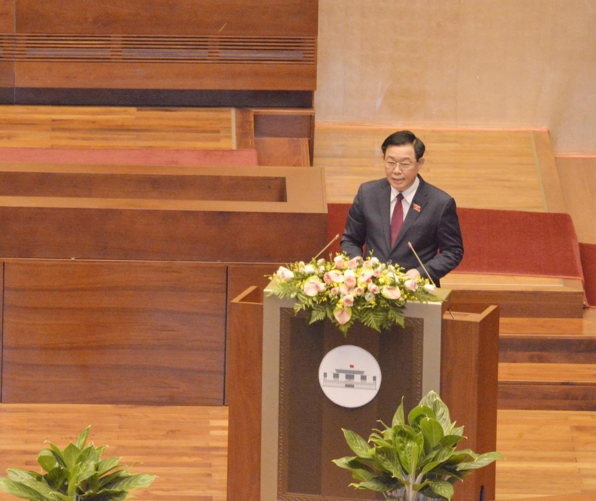 Chủ tịch Quốc hội Vương Đình Huệ phát biểu bế mạc kỳ họp.