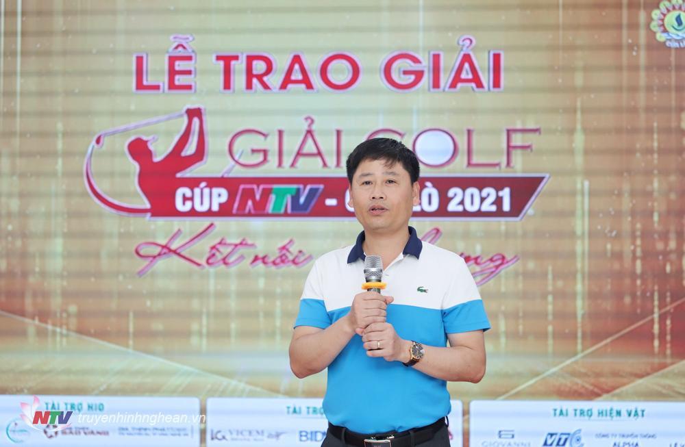 Đồng chí Trần Minh Ngọc - Phó Giám đốc Đài PTTH Nghệ An, Chủ tịch Hội Nhà báo tỉnh, Trưởng BTC giải phát biểu cảm ơn tại lễ bế mạc và trao giải.