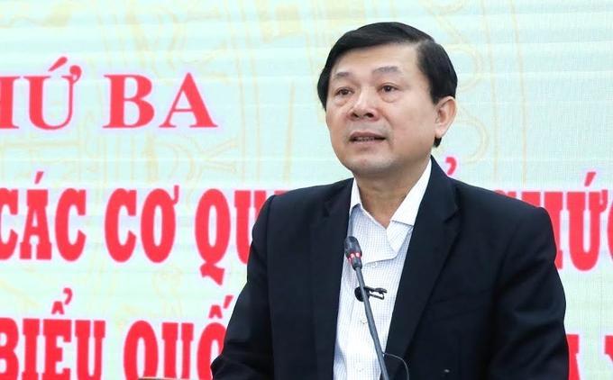 Phó Chủ tịch Ủy ban Trung ương Mặt trận Tổ quốc Việt NamNguyễn Hữu Dũng báo cáo tại hội nghị sáng 16/4.