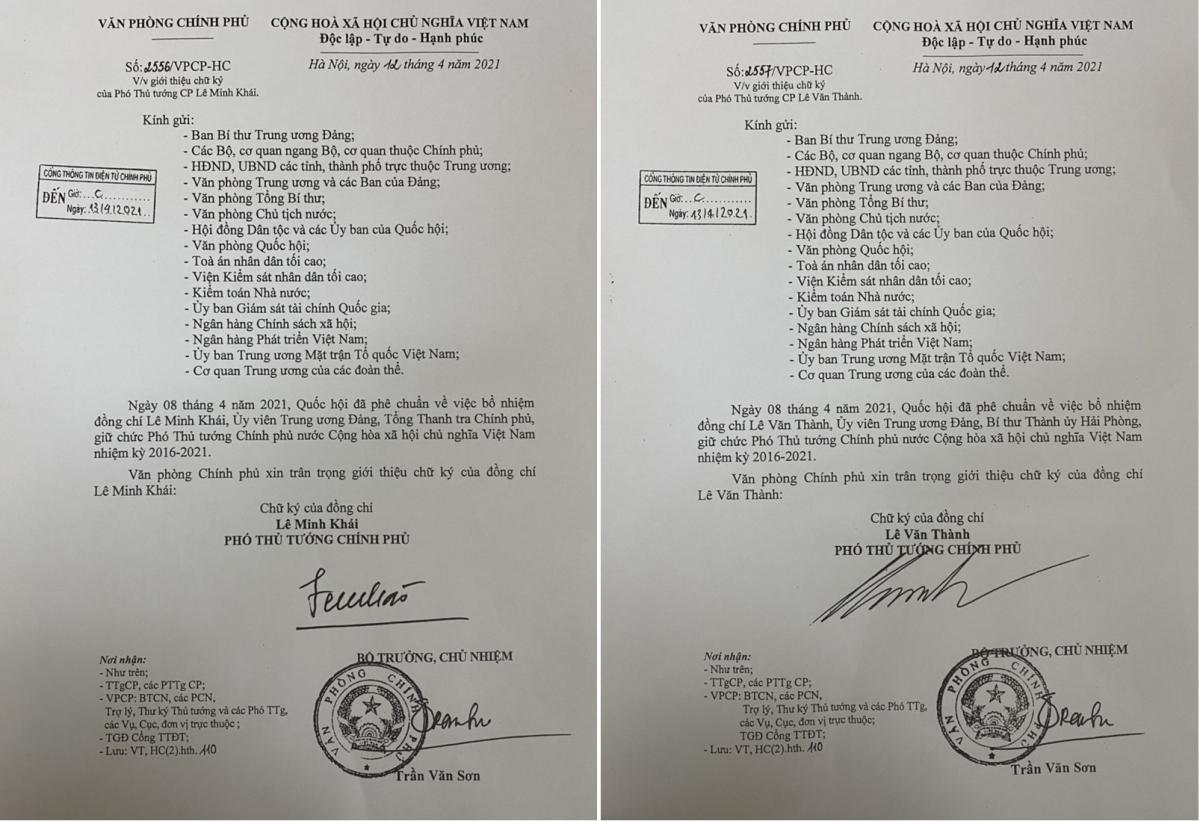 Văn bản giới thiệu chữ ký 2 Phó Thủ tướng Lê Minh Khái và Lê Văn Thành