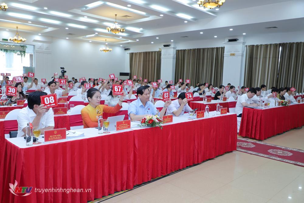 Các đại biểu biểu quyết thông qua Nghị quyết trình kỳ họp thứ 13 HĐND tỉnh.