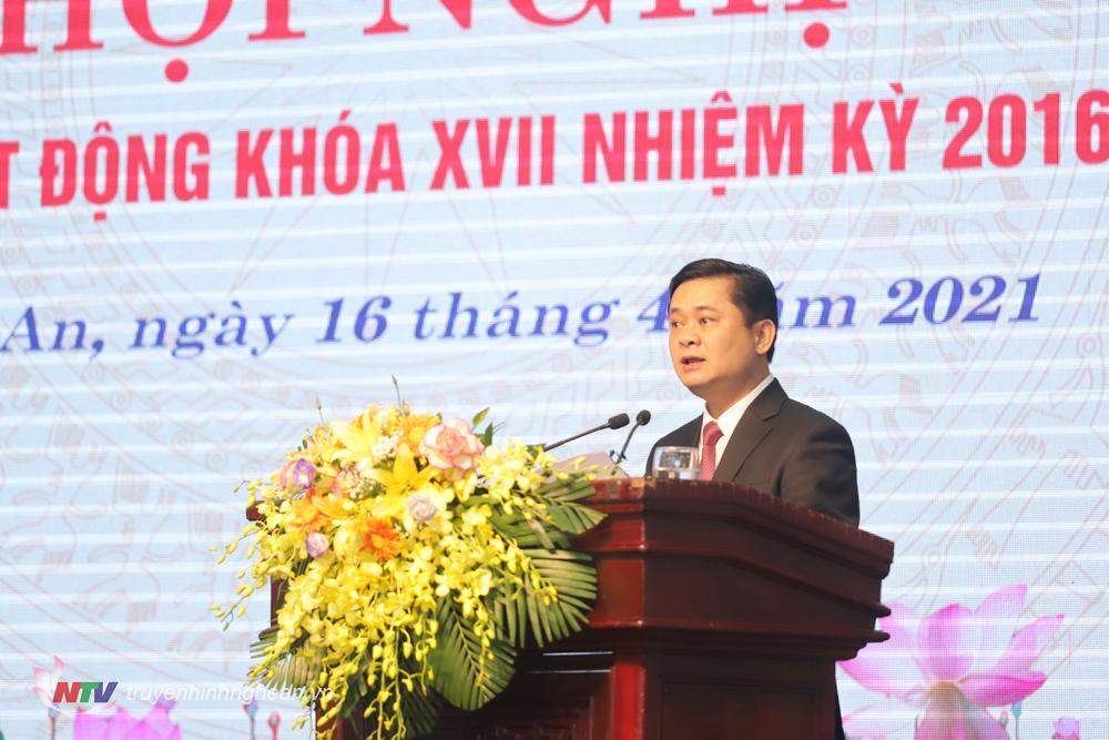 Bí thư Tỉnh uỷ Thái Thanh Quý phát biểu chỉ đạo tại hội nghị.