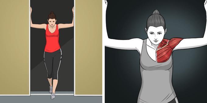 Đứng ở giữa cửa. Lưu ý, chọn cửa có khoảng cách hai bên vừa một cánh tay. Tỳ hai cẳng tay lên trên tường, bước một chân lên phía trước, ép chặt hai tay để kéo giãn vùng cổ, vai, bắp tay và ngực. Giữ trong 5 giây rồi thả lỏng về tư thế ban đầu. Lặp lại động tác 8 lần rồi đổi bên.