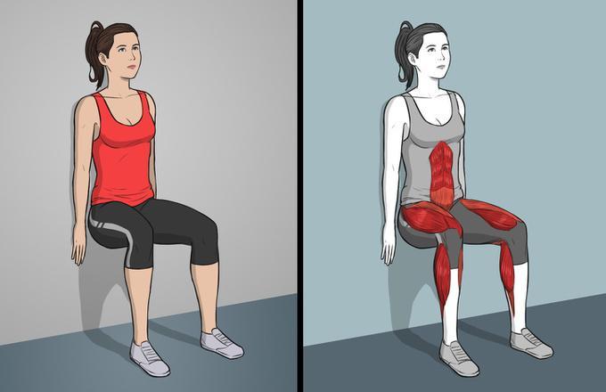 Dựa lưng vào tường, hai tay duỗi thẳng, úp sát tường, giữ thân trong tư thế đang ngồi trên ghế với bắp chân và cẳng chân tạo thành góc vuông. Giữ trong 5 - 15 giây tùy khả năng.