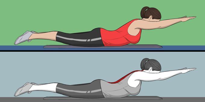 Nằm sấp trên thảm, mũi chân úp, hai tay đưa duỗi thẳng phía trước. Dùng cơ bụng nâng chân, ngực, cổ, đầu và hai tay lên cao. Giữ trong 5 giây rồi thả lỏng về tư thế ban đầu. Lặp lại động tác 8 lần.