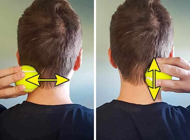 Tập với bóng tennis: Bạn hãy dùng một quả bóng tennis và lăn nó theo chiều ngang và dọc theo cổ gáy để khôi phục khả năng vận động của cổ. Bóng tennis sẽ tác động vào phần mô mềm giúp giải tỏa sự căng cứng của cơ vùng cổ gáy.