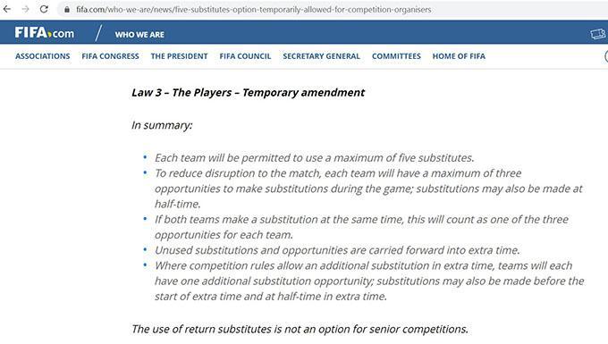 Điều khoản luật thay người được điều chỉnh do FIFA công bố