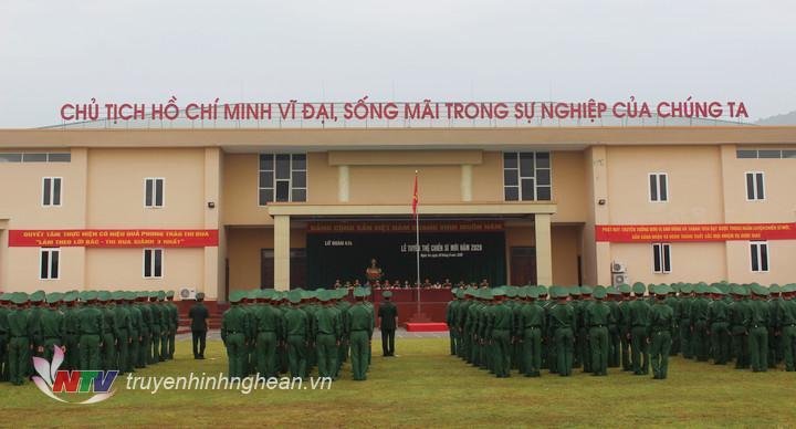 Quang cảnh lễ tuyên thệ chiến sĩ mới.