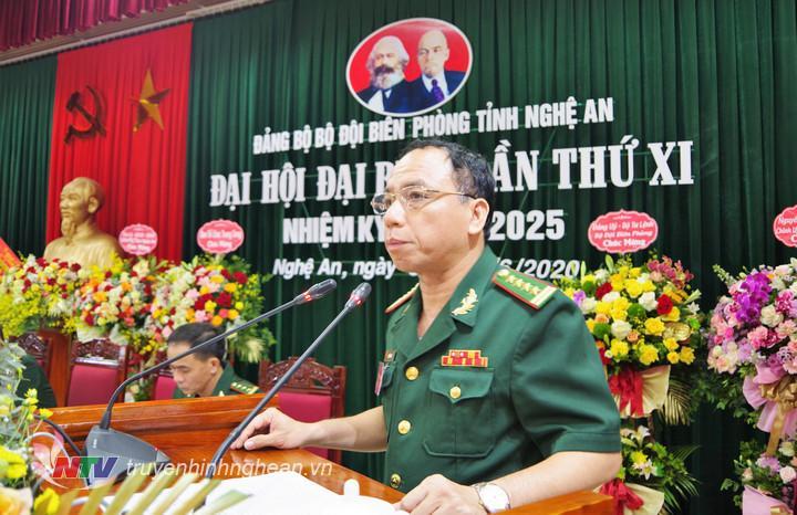 Đại tá Trần Hải Bình, Tỉnh ủy viên, Phó Bí thư Đảng ủy, Chỉ huy trưởng BĐBp tỉnh phát biểu tại phiên trù bị