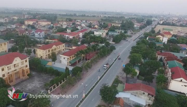 Thị trấn Hưng Nguyên nhìn từ trên cao.
