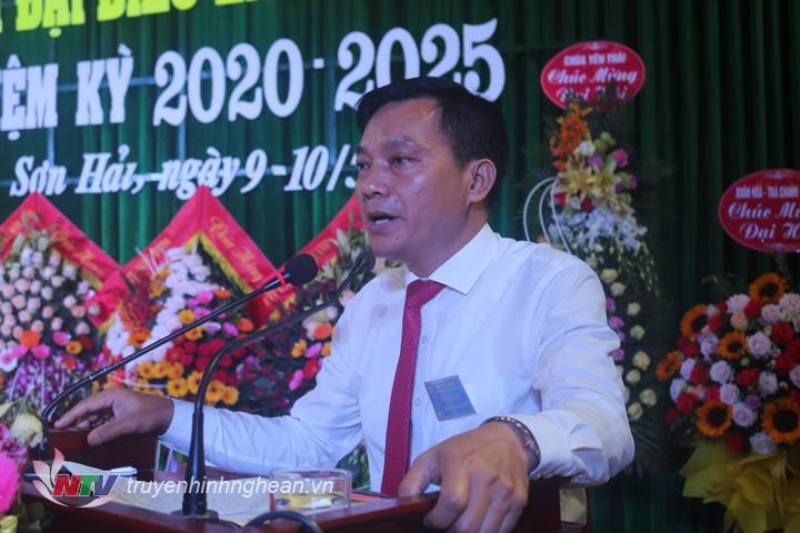 Phó bí thư thường trực huyện ủy Lê Xuân Kiên phát biểu chỉ đạo tại đại hội
